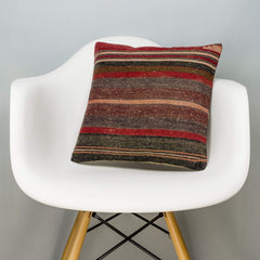 Striped Brown Kilim Pillow Cover 16x16 2800 - kilimpillowstore