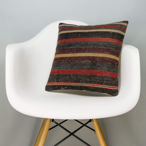 Striped Brown Kilim Pillow Cover 16x16 2805 - kilimpillowstore