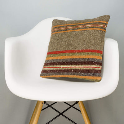 Striped Brown Kilim Pillow Cover 16x16 2845 - kilimpillowstore