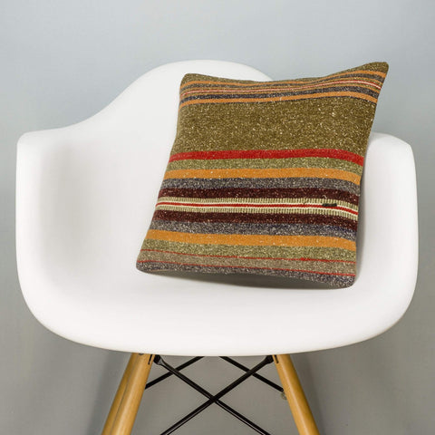 Striped Brown Kilim Pillow Cover 16x16 2848 - kilimpillowstore