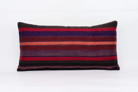Striped Multi Color Kilim Pillow Cover 12x24 4057 - kilimpillowstore  - 1