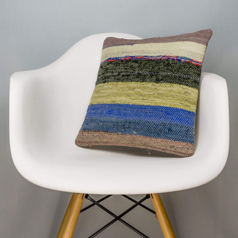 Striped Multi Color Kilim Pillow Cover 16x16 3070 - kilimpillowstore