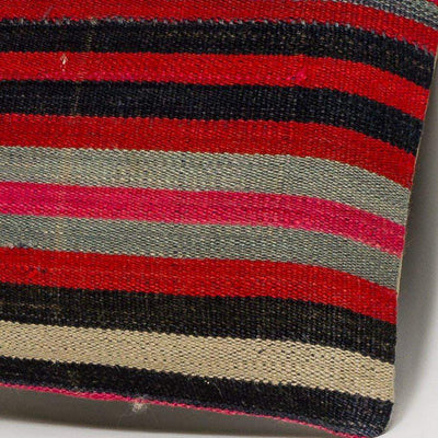 Striped Multi Color Kilim Pillow Cover 16x16 3192 - kilimpillowstore