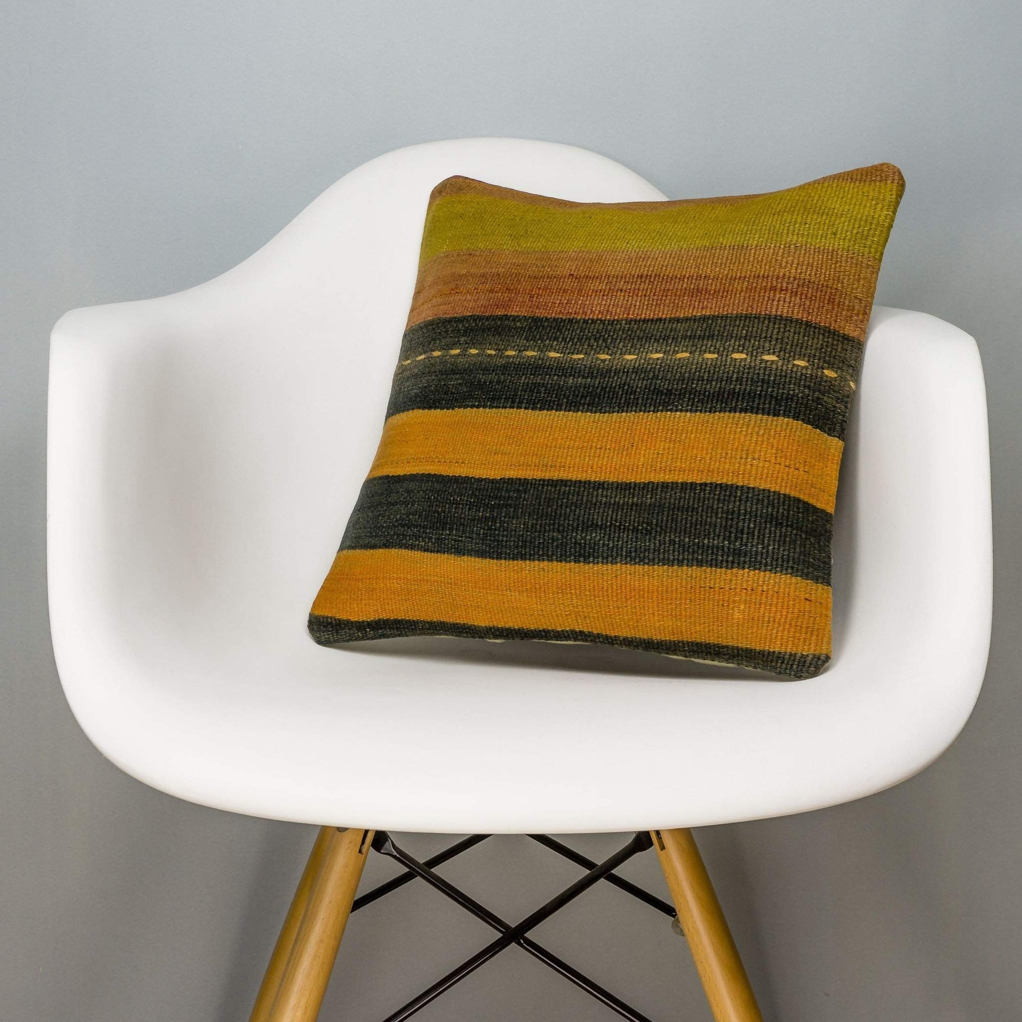 Striped Multi Color Kilim Pillow Cover 16x16 3219