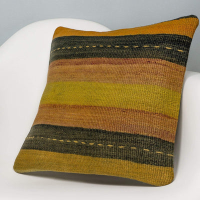 Striped Multi Color Kilim Pillow Cover 16x16 3221 - kilimpillowstore