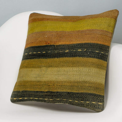 Striped Multi Color Kilim Pillow Cover 16x16 3229 - kilimpillowstore