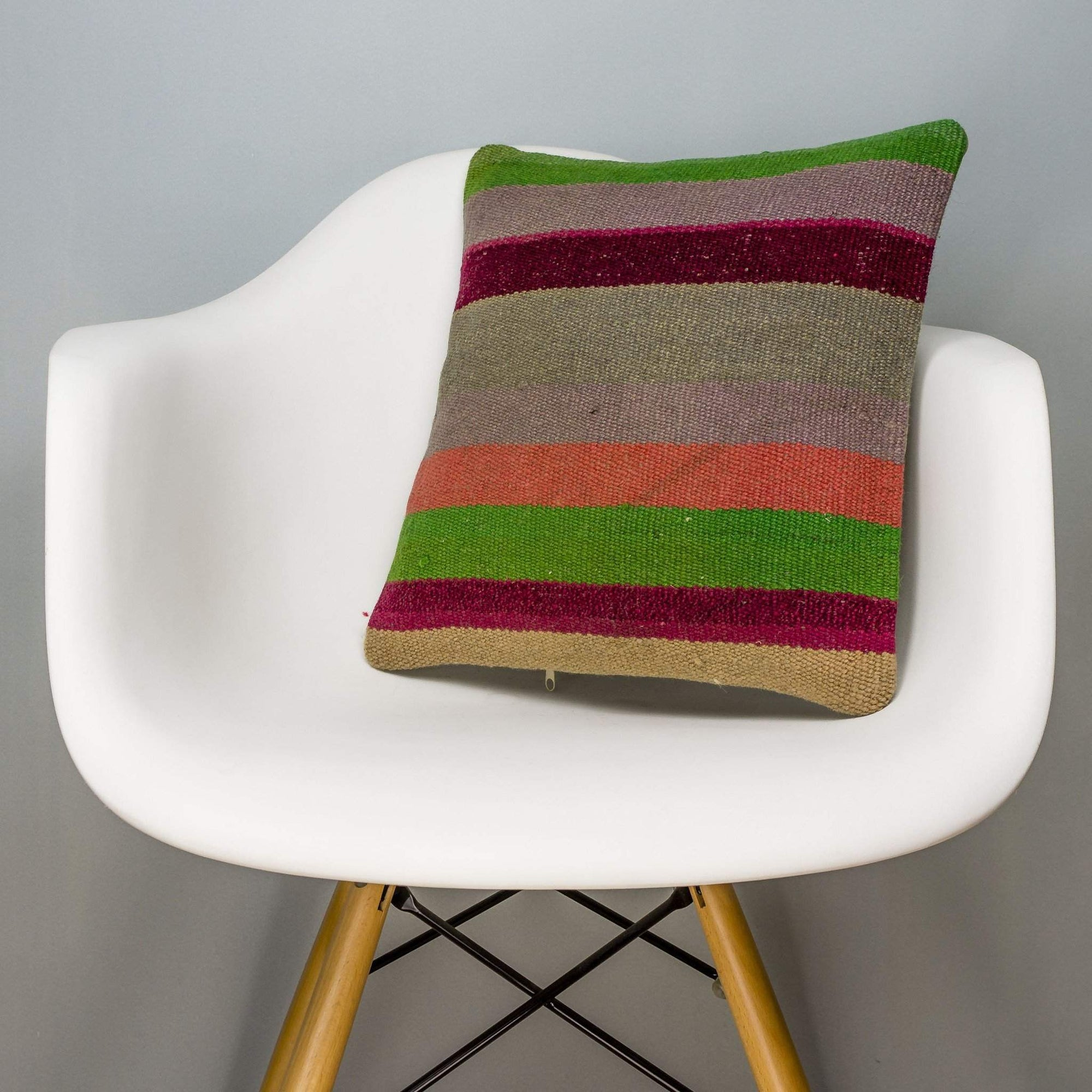 Striped Multi Color Kilim Pillow Cover 16x16 3236
