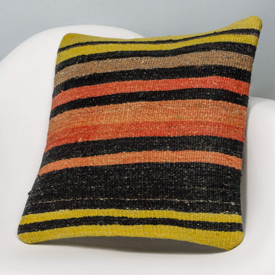 Striped Multi Color Kilim Pillow Cover 16x16 3270 - kilimpillowstore