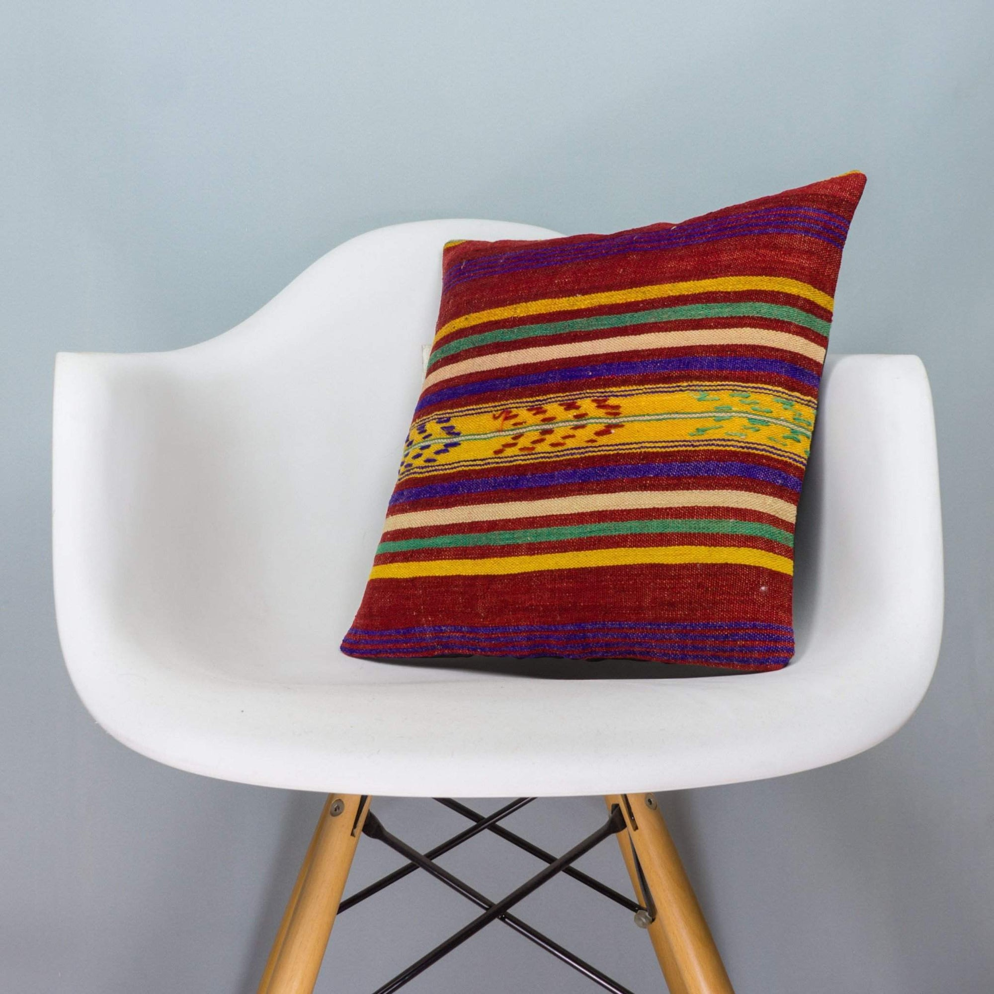 Striped Multi Color Kilim Pillow Cover 16x16 4014