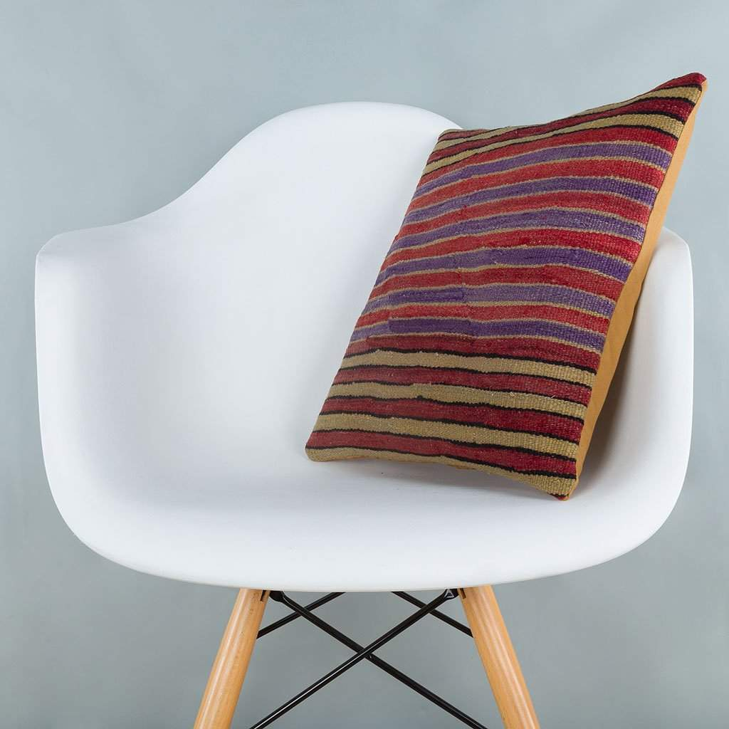 Striped Multiple Color Kilim Pillow Cover 16x16 6807