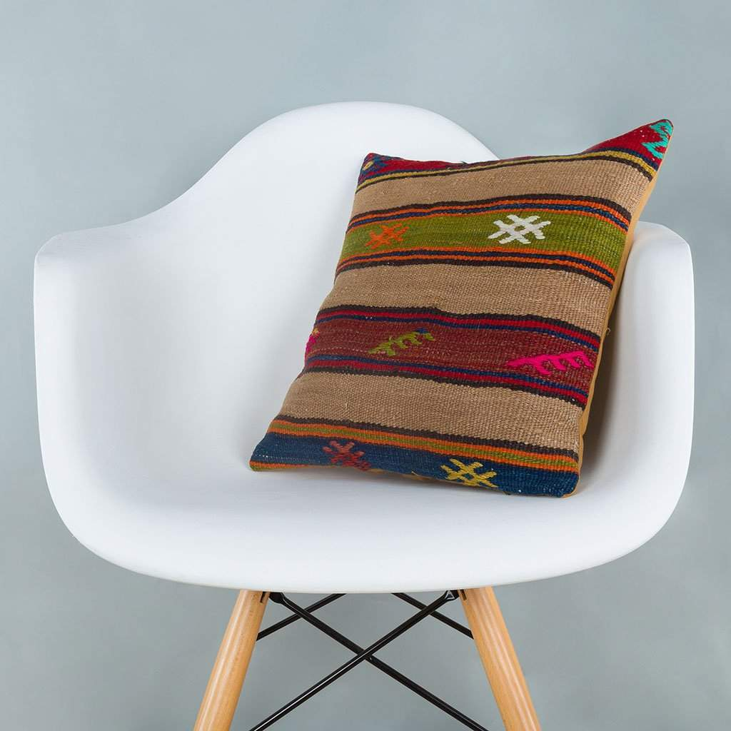 Striped Multiple Color Kilim Pillow Cover 16x16 7091