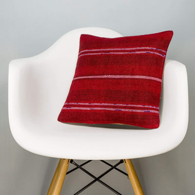 Striped Red Kilim Pillow Cover 16x16 2867 - kilimpillowstore