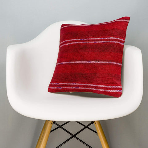Striped Red Kilim Pillow Cover 16x16 2874 - kilimpillowstore