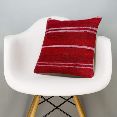 Striped Red Kilim Pillow Cover 16x16 2898 - kilimpillowstore