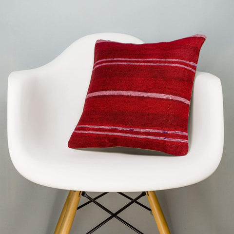 Striped Red Kilim Pillow Cover 16x16 2902 - kilimpillowstore