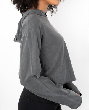 Soft lightweight, washed black cropped pullver with hood. 100% cotton , super comfy
