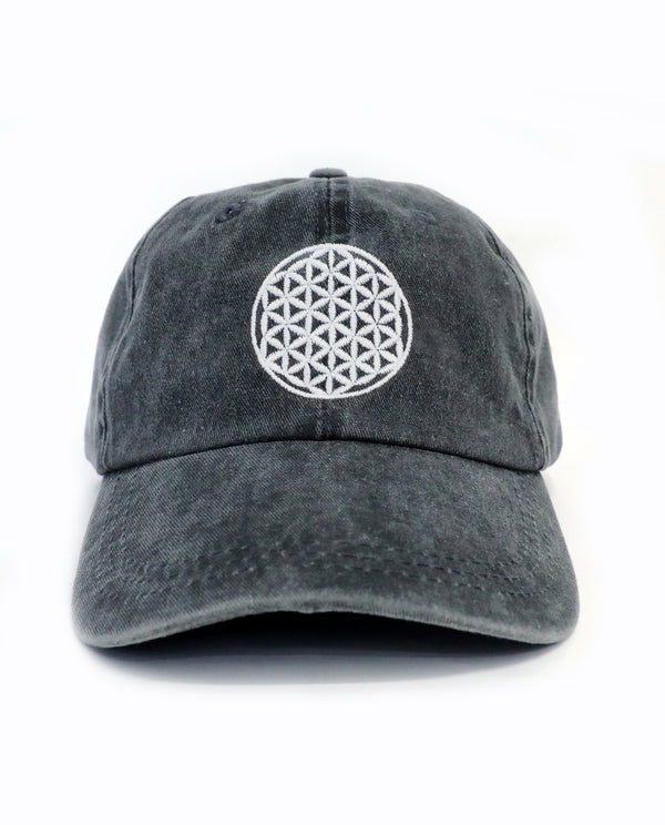 Flower of Life Relaxed Cap (Washed Charcoal)