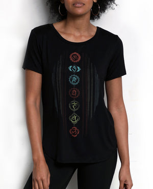 Neoclassics inspires positive affirmations - Spiritually inspired threads - Black boyfriend Tee - Chakras hand drawn