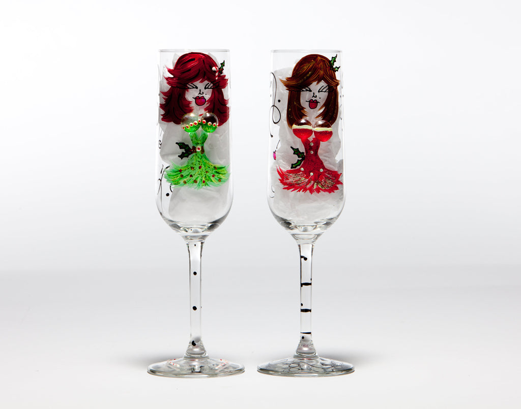 Christmas & New Years Double D'Va's Personalized Glasses