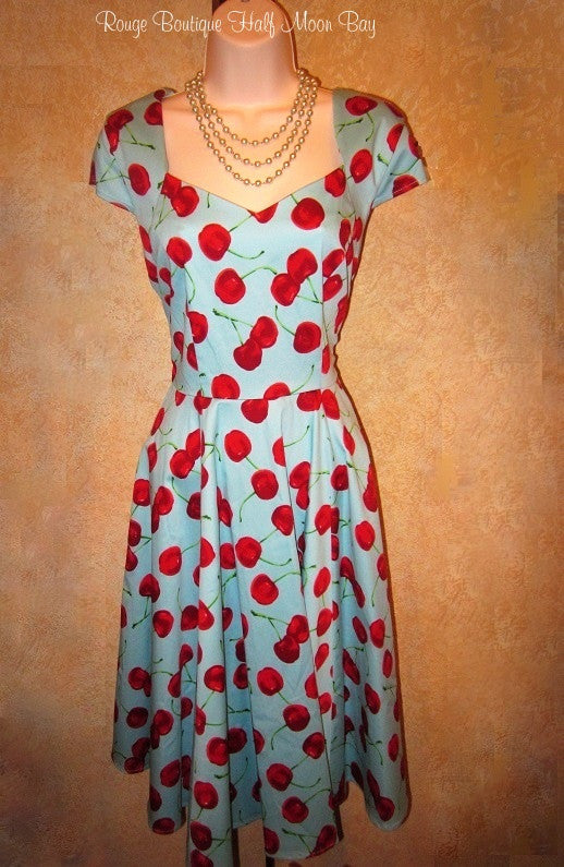 Turquoise Cherry  Hostess Dress