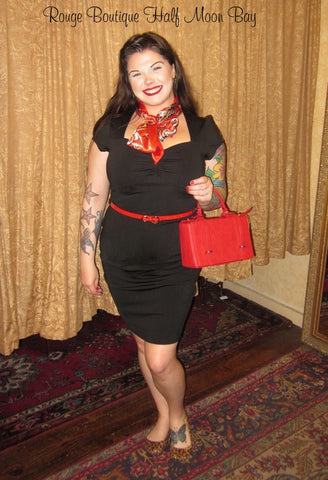 Black Wiggle Dress and red belt