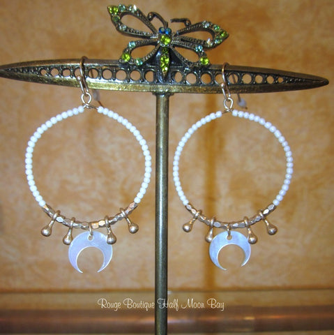 Circle and moon earrings