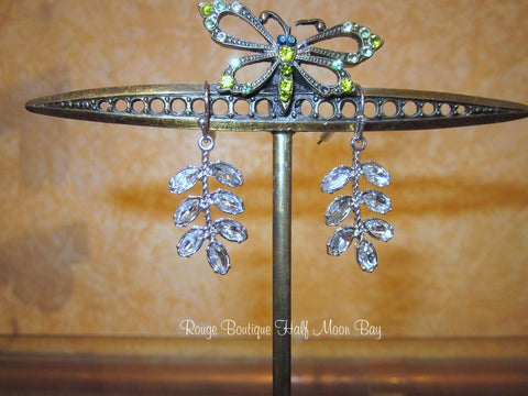 Clear rhinestone leaf earrings