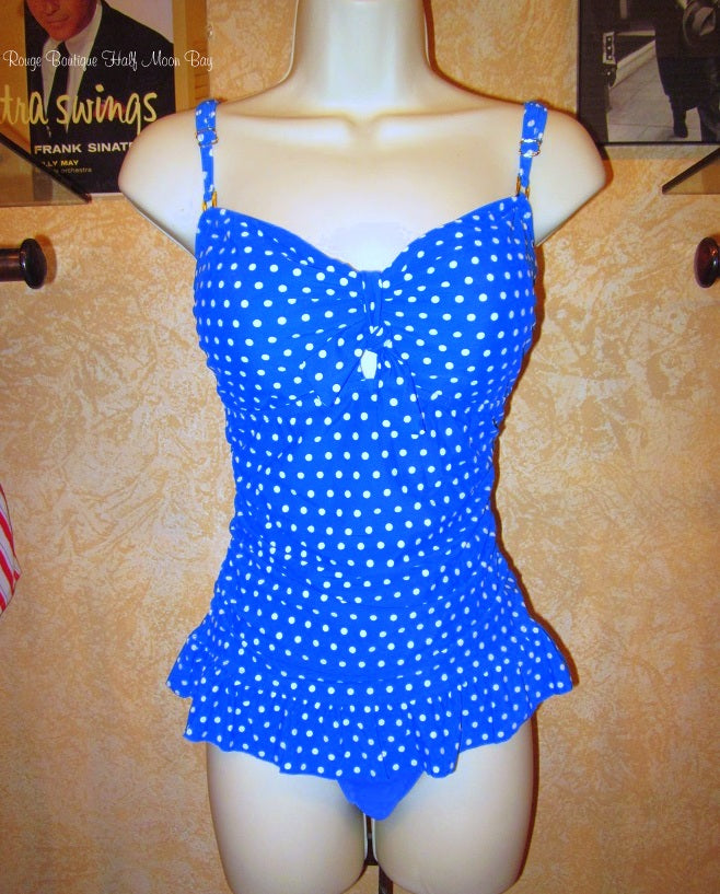 Long top retro polka dot Swimsuit (blue and white)