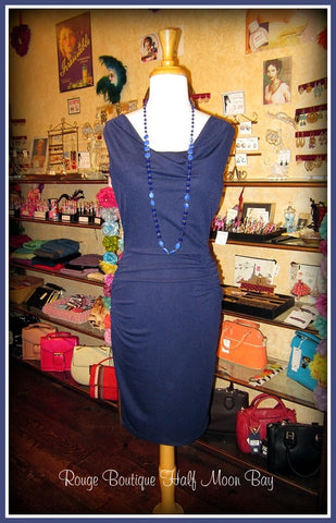 Sleeveless Navy Wiggle Dress