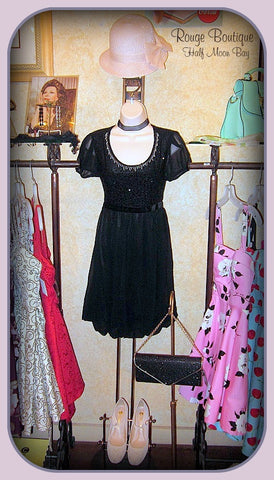 Black chiffon and sequin dress