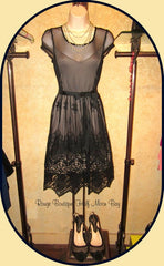 Black mesh and embroidered lace dress
