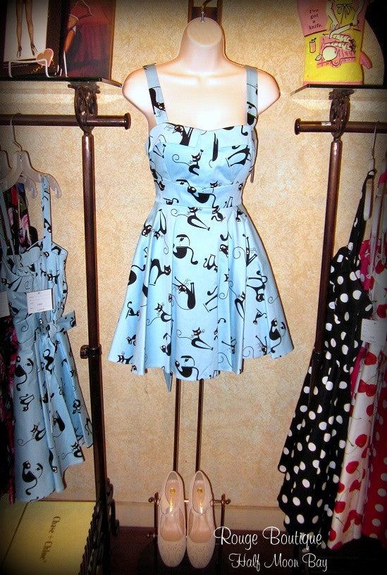 Retro Tie-back cat print dress (short)
