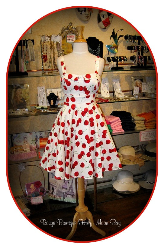 Retro tie-back Cherry Print Hostess dress
