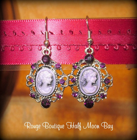 Purple cameo earrings