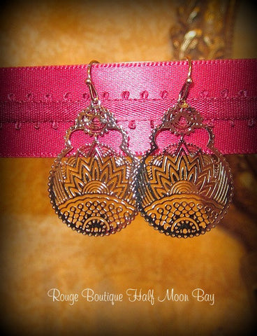 Silver color filigree earrings