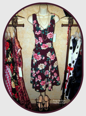 Floral Hostess Dress (maroon)