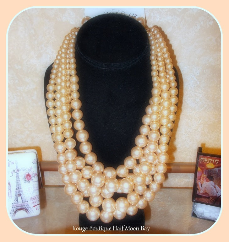 Golden Faux Pearl Necklace and Earring set