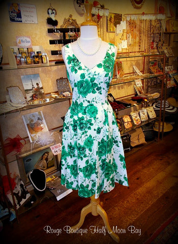 Green Floral Hostess Dress