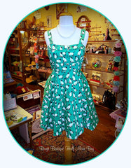 Retro Tie-back green cat floral print dress (mid style)