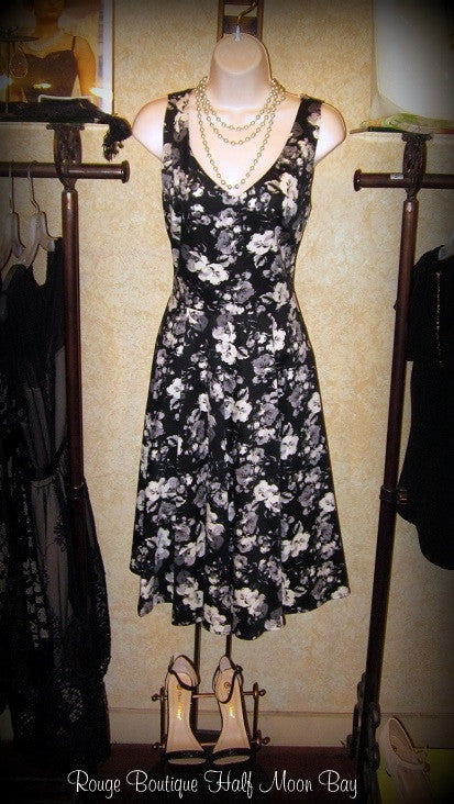 Black and white Floral Hostess Dress