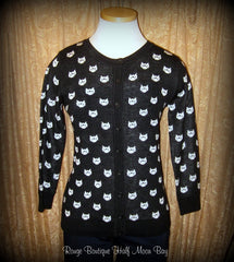 Button down retro kitty sweater