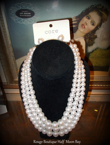 White Faux Pearl Necklace and Earring set