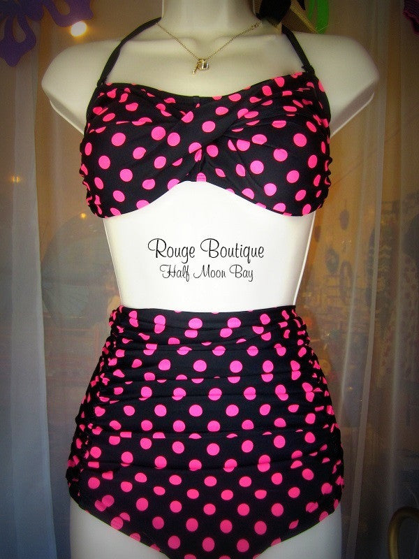 Retro Black and pink polka dot Swimsuit