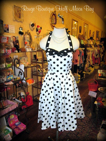Black and White Polka Dot Halter Hostess Dress