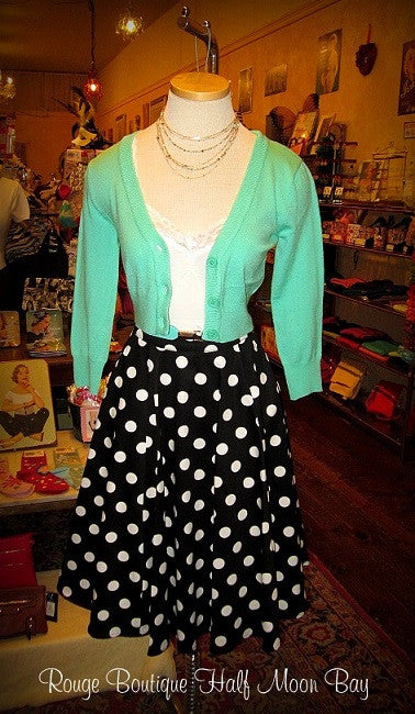 Black with White Polka dots Skirt