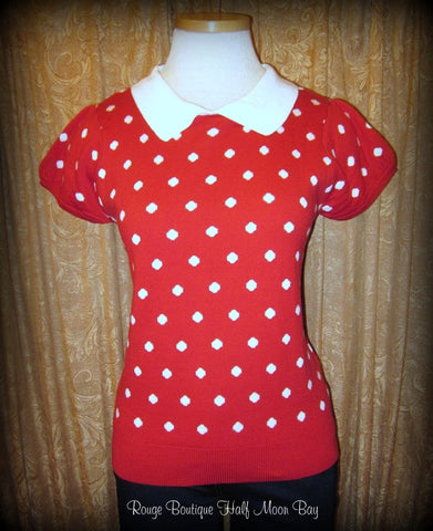 Short sleeve retro polka dot sweater