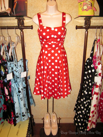 Retro tie-back Red with White Polka Dots Hostess dress
