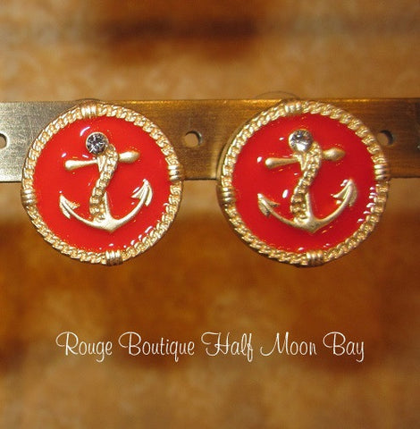 Red anchor  earrings