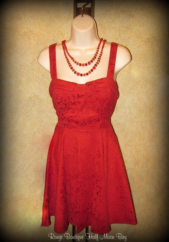 Retro Tie-back red brocade dress
