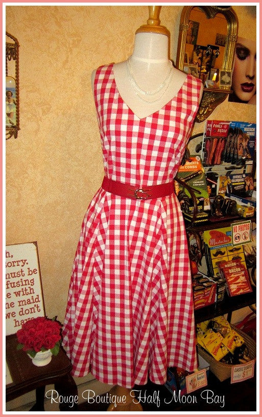 Retro Red Gingham Print Hostess Dress